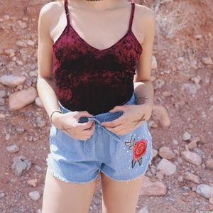 Denim Shorts With Rose Applique